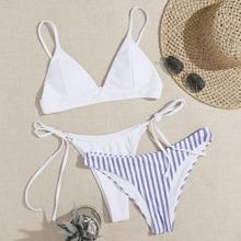 3 Pack Bikini Badeanzug mit Streifen und seitlichem Band