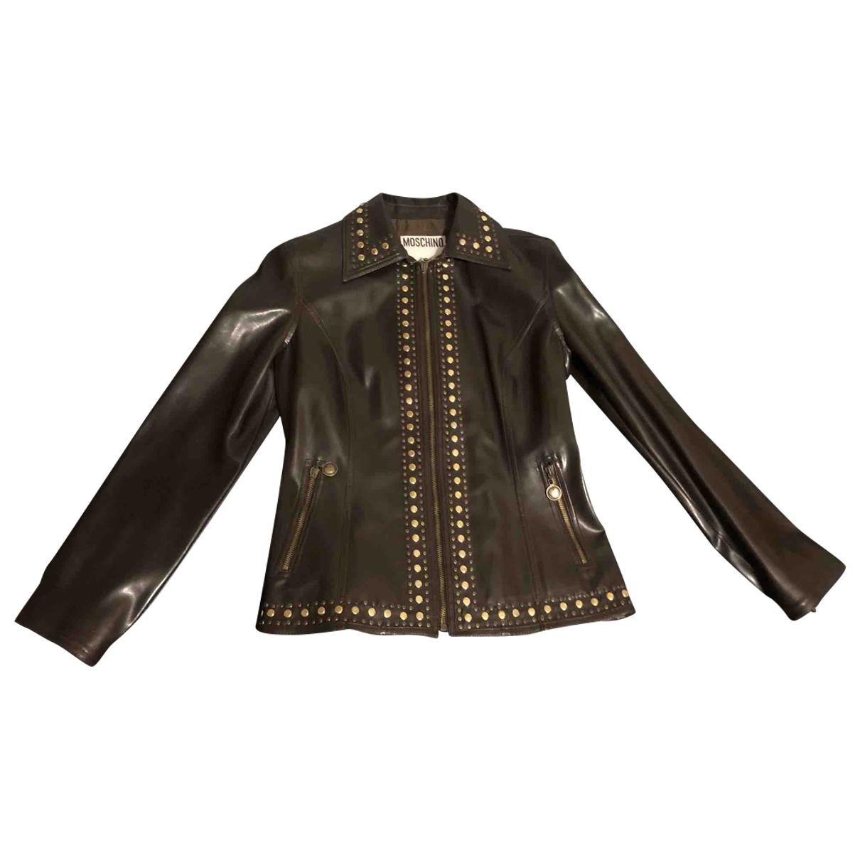 Moschino Cheap And Chic - Veste   pour femme en cuir - marron