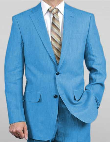Mens Sizes Turquoise Light Weight 2Button Real Linen Suit Jacket Pants