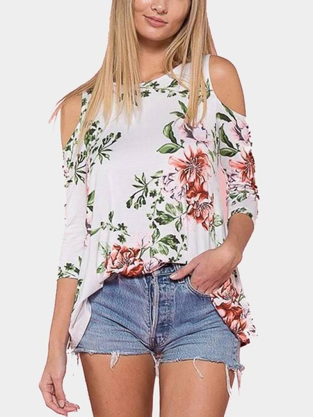 Yoins White Cold Shoulder Floral Print Top