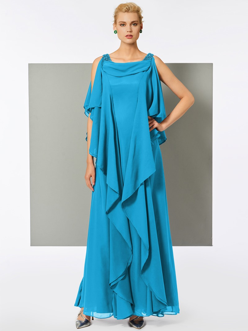 Ericdress A Line Scoop Neck Chiffon Long Evening Dress