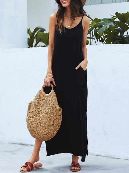 YOINS Black Slit Design Round Neck Sleeveless Dress