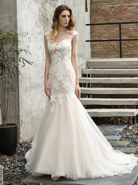 Milanoo Wedding Dress Jewel Neck Sleeveless Natural Waist Lace Bridal Mermaid Dress With Train