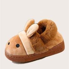 Toddler Girls Cartoon Decor Fluffy Slippers