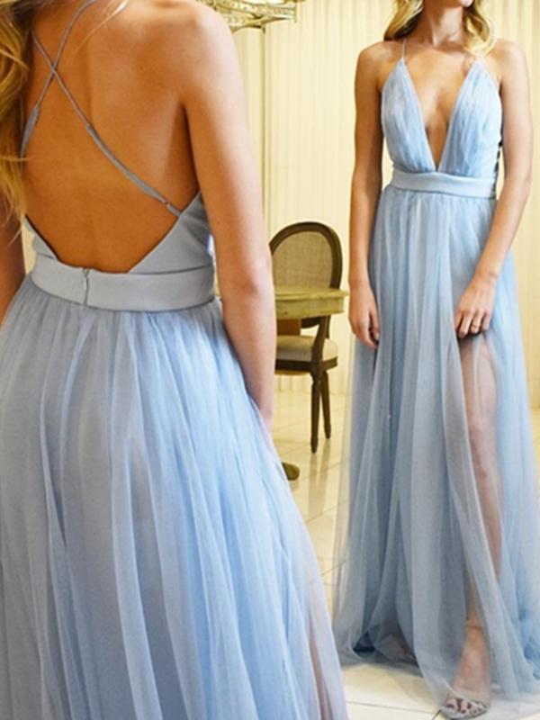 Ericdress Sleeveless Spaghetti Straps A-Line Floor-Length Prom Dress