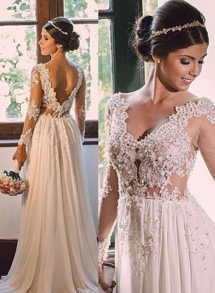 Simple A-line Sweep-Train Chiffon V-neck Lace Backless Wedding Dress
