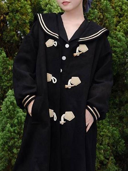 Milanoo Sweet Lolita Coats Black Overcoat Synthetic Winter Lolita Outwears