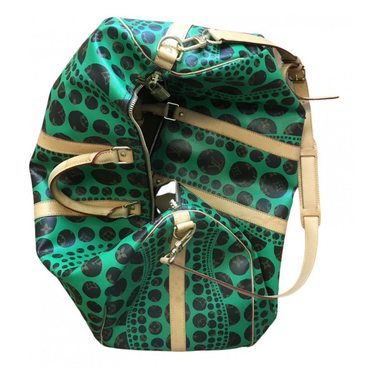 Louis Vuitton Keepall Green Cloth Travel bag for Women N