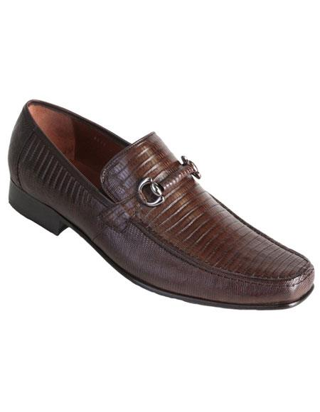 Mens Stylish Brown Exotic Teju Lizard Skin Slip-on Casual Dress Shoes