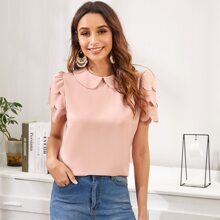 Peter Pan Collar Layered Scallop Sleeve Top