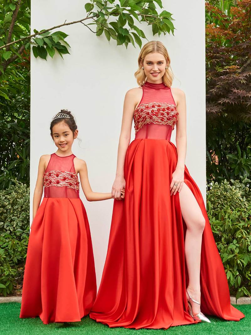 Ericdress Sequins Beaded Parent-Child Evening Dress With Slit