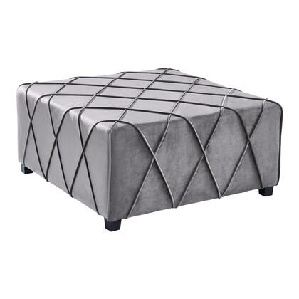 Gemini Collection LCGMOTGR Contemporary Ottoman in Grey Velvet with Piping Accents and Wood