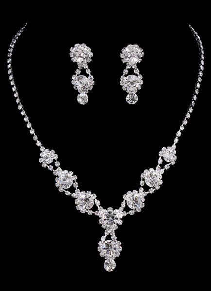 Milanoo Wedding Jewelry Set Silver Rhinestone Bridal Drop Earring With Pendant Necklace