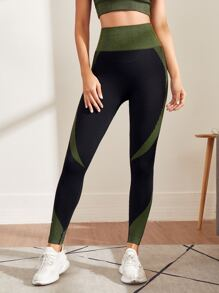 Color Block Wide Band Waist Sports Leggings