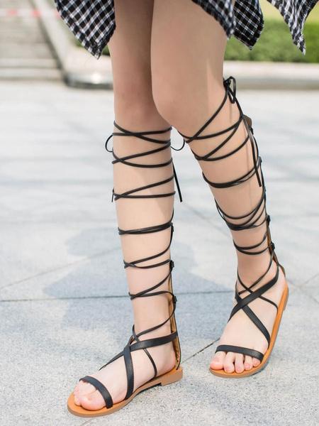 Milanoo Sandalias Negro de Gladiador Romano de Mujer 2020 Sandalia de Becerro Zapatos de Punta Abierta Atar con Correa Sandalias Plana