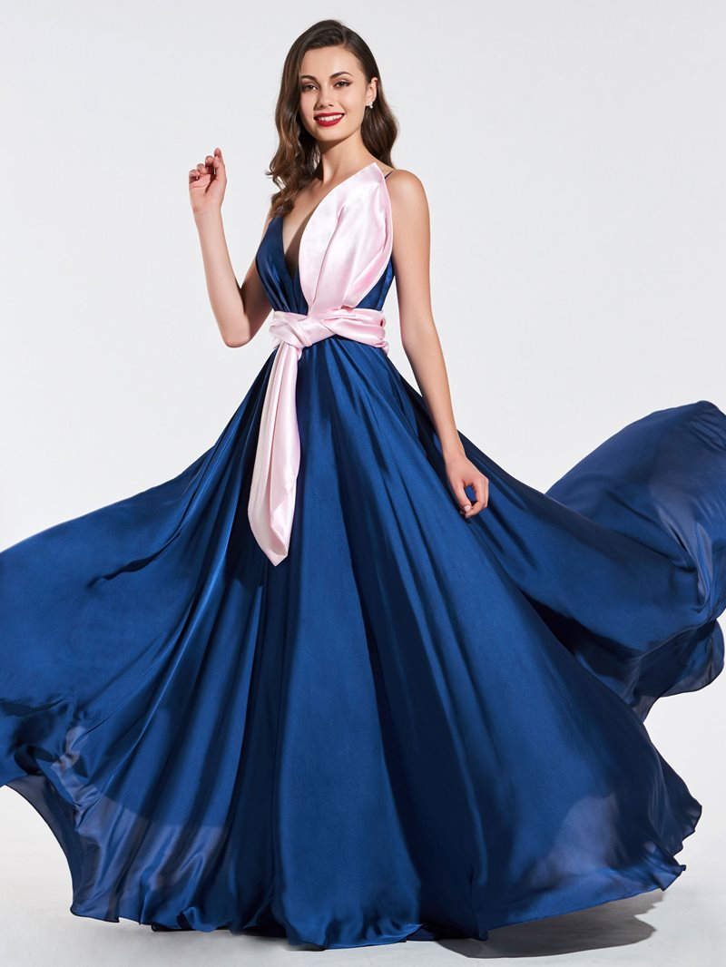 Ericdress A Line V Neck Contrast Color Prom Dress