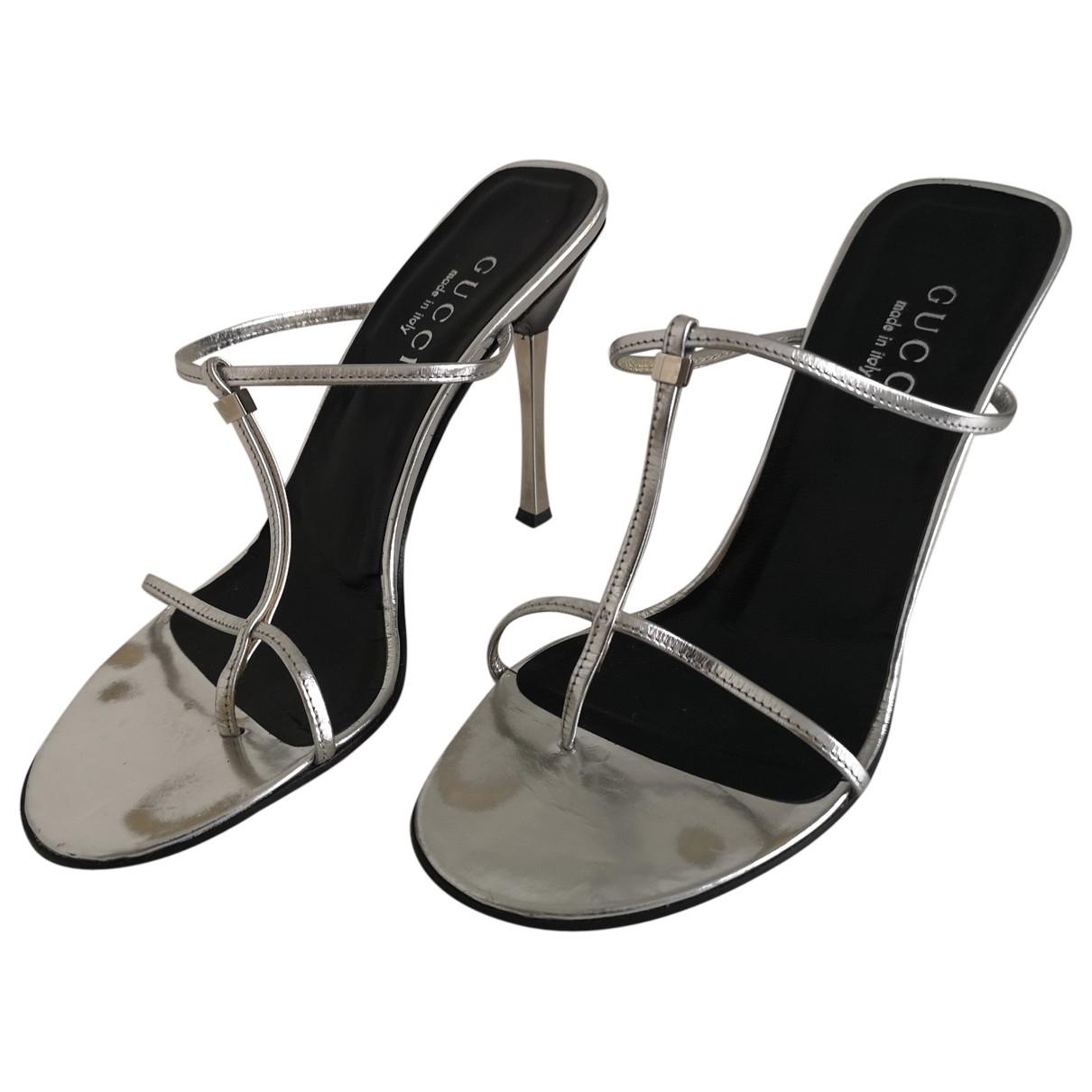 Gucci - Sandales   pour femme en cuir verni - argente