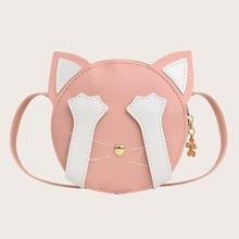 Cartoon Cat Round Crossbody Bag
