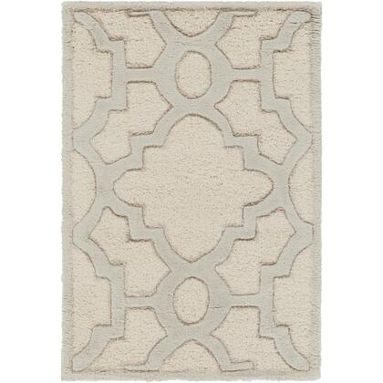 CAN2041-23 2' x 3' Rug  in Cream and Medium Gray and