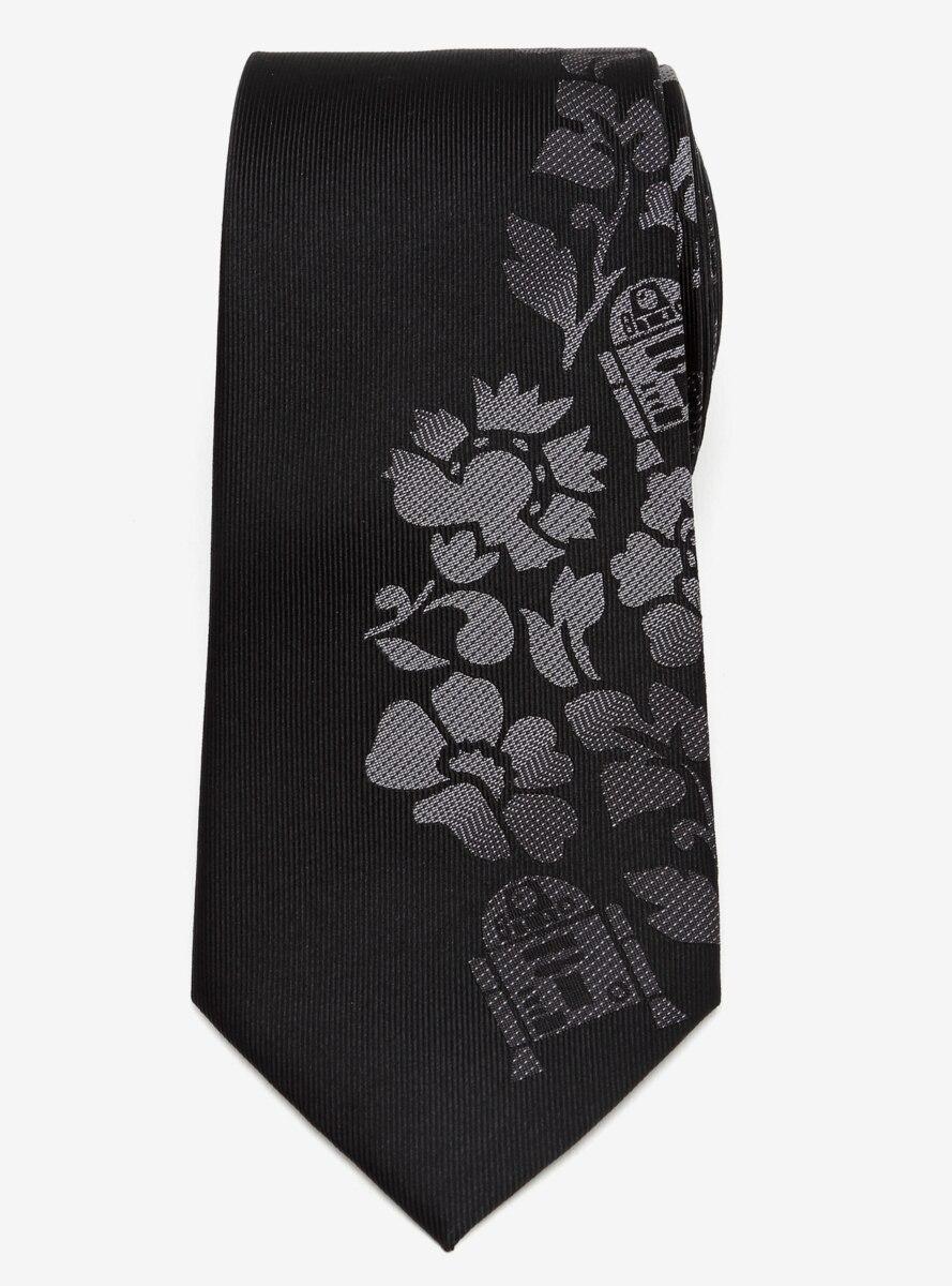 Star Wars R2D2 Floral Black Tie