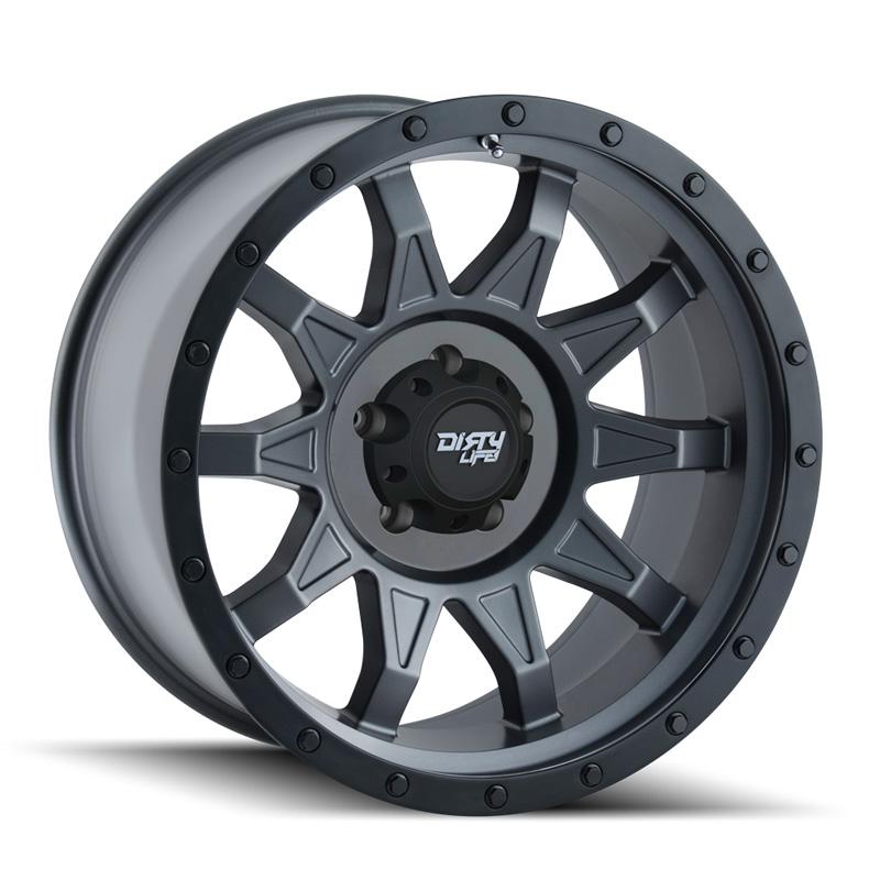 Dirty Life Dirty Roadkill Matte Gunmetal | Black Beadlock 18X9 8x165.1 -12mm 130.8mm Wheel
