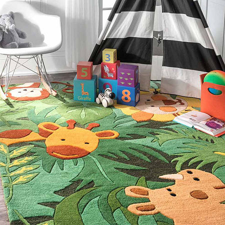 nuLoom Hand Tufted King of the Jungle Rug, One Size , Green