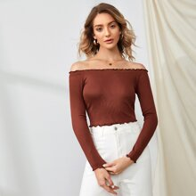 Rib-Knit Lettuce Trim Bardot Top