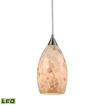 10443/1-LED Capri 1 Light LED Pendant in Satin Nickel and Capiz