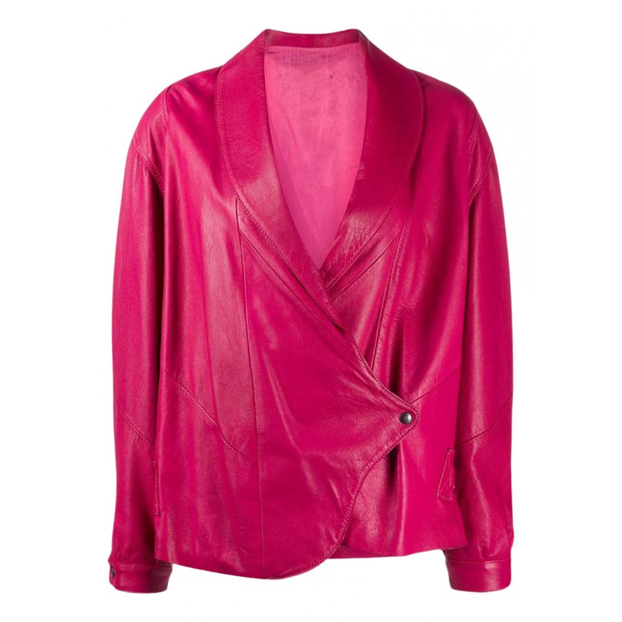 - Blouson   pour femme en cuir - rose