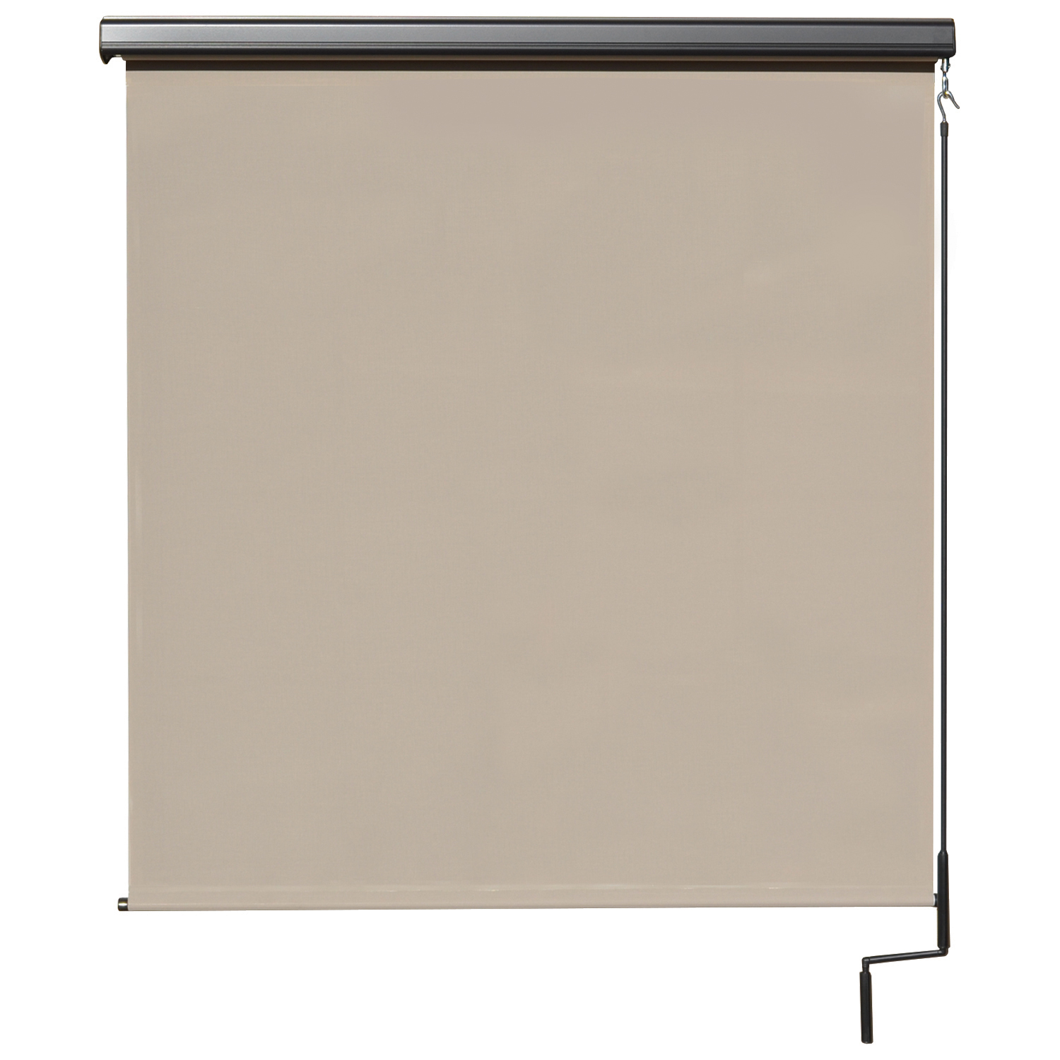 Premier Cordless Outdoor Sun Shade with Protective Valance, 8' W x 8' L, Maple