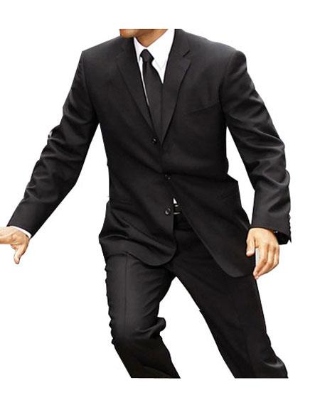 Men's Black Single Breasted Notch Lapel 2 Button Suit