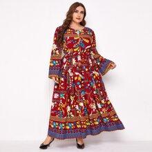 A-Linie Kleid mit Blumen Muster