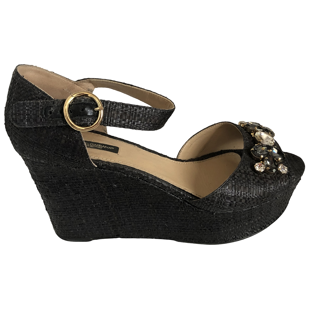 Dolce & Gabbana \N Anthracite Cloth Sandals for Women 40 IT