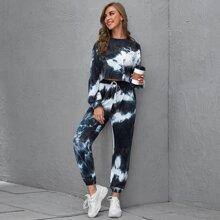Pullover mit ungesaeumtem Saum, Batik & Jogginghose Set