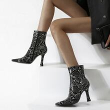 Square Toe Snakeskin Print Ankle Boots