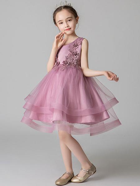 Milanoo Vestidos de niña de las flores Cuello joya Sin mangas Bordados Vestidos de fiesta social para niños