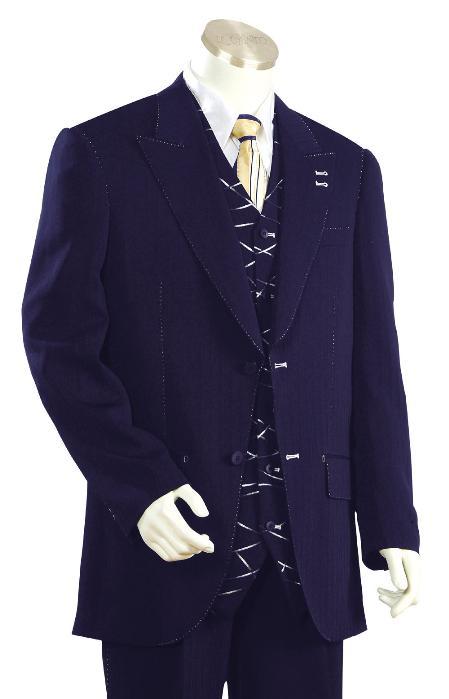 2 Button Navy Zoot Suit Mens