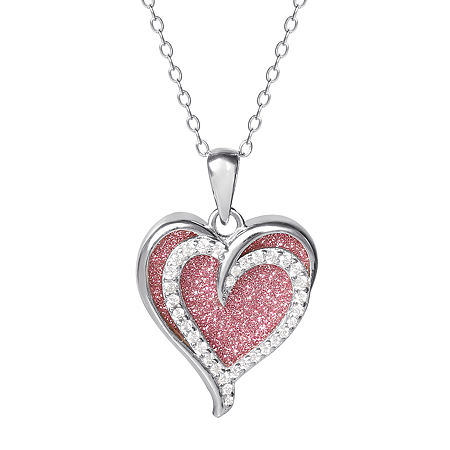 Womens White Cubic Zirconia Sterling Silver Heart Pendant Necklace, One Size , No Color Family