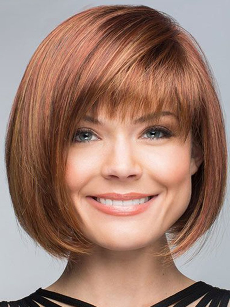 Ericdress Short Bob Hairstyle With Bangs Women's Straight Synthetic Hair Capless Wigs 10Inch