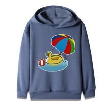 Sweatshirt mit Karikatur Grafik und Kapuze