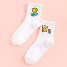 2pairs Butterfly Pattern Socks