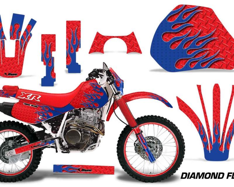 AMR Racing Graphics MX-NP-HON-XR600R-91-00-DF U R Kit Decal Sticker Wrap + # Plates For Honda XR 600R 1991-2000áDIAMOND FLAMES BLUE RED