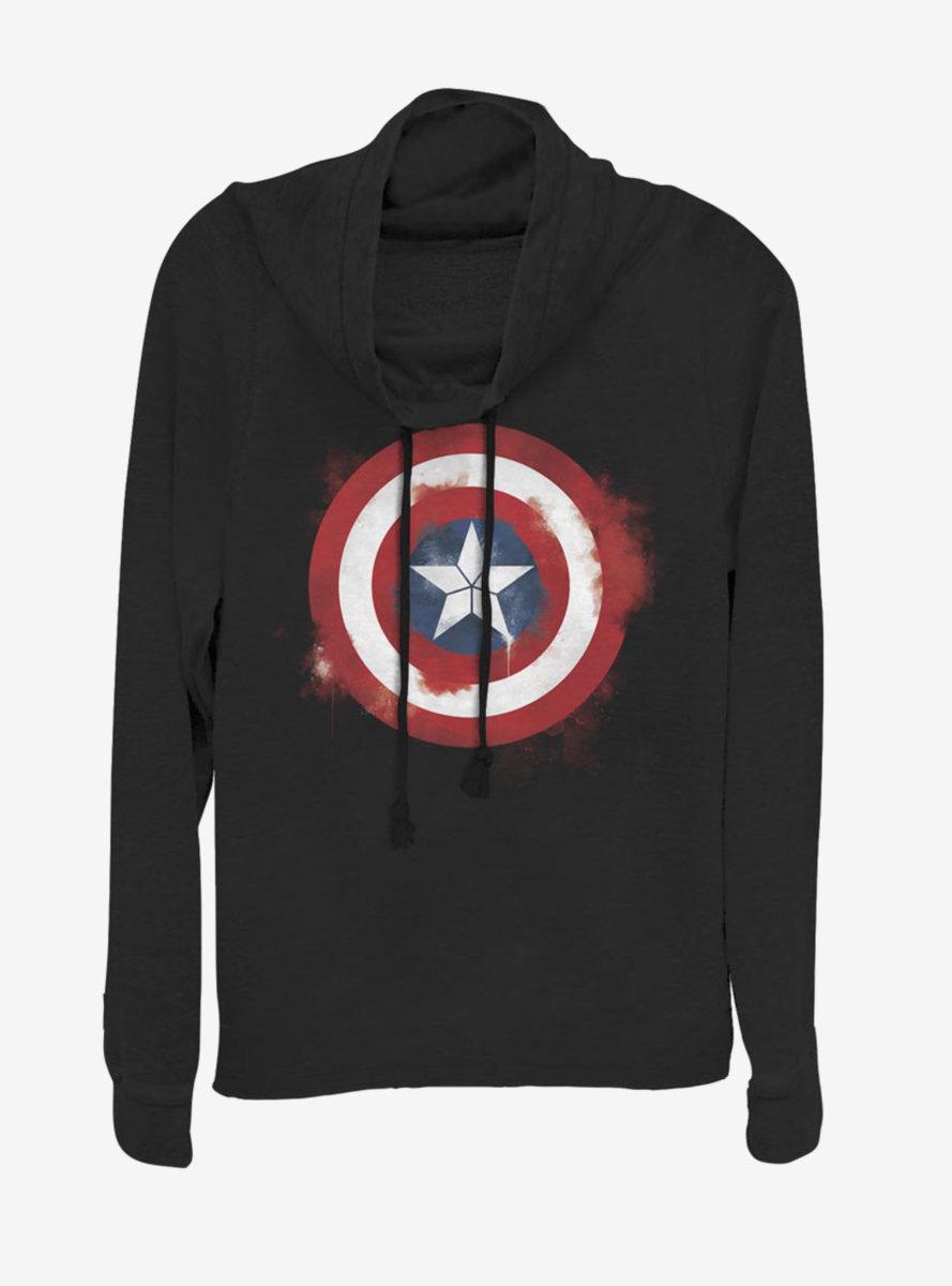 Marvel Captain America Spray Logo Cowlneck Long-Sleeve Womens Top