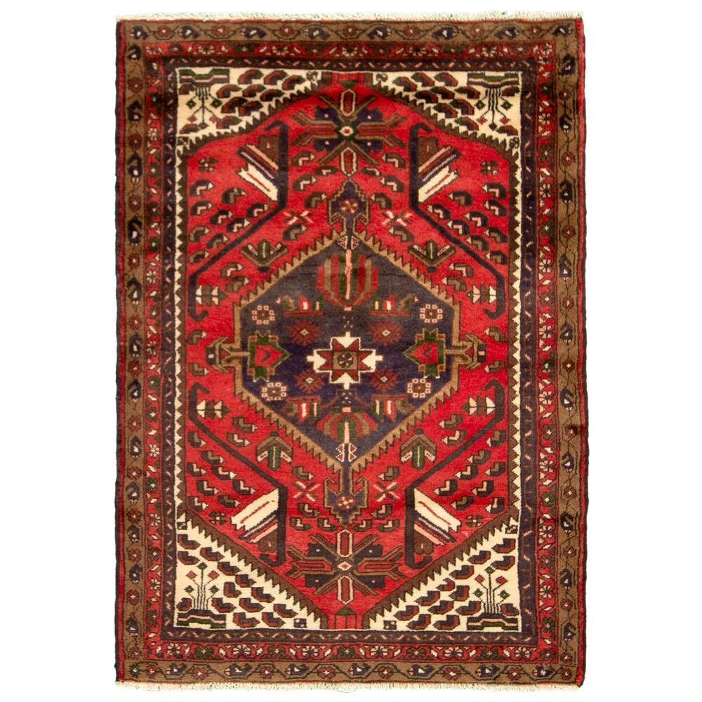 ECARPETGALLERY  Hand-knotted Hamadan Red Wool Rug - 3'8 x 5'5 (3'8 x 5'5 - Red)