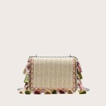 Tassel Trim Woven Chain Bag