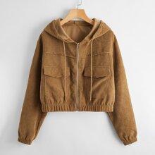 Solid Corduroy Zip Up Jacket