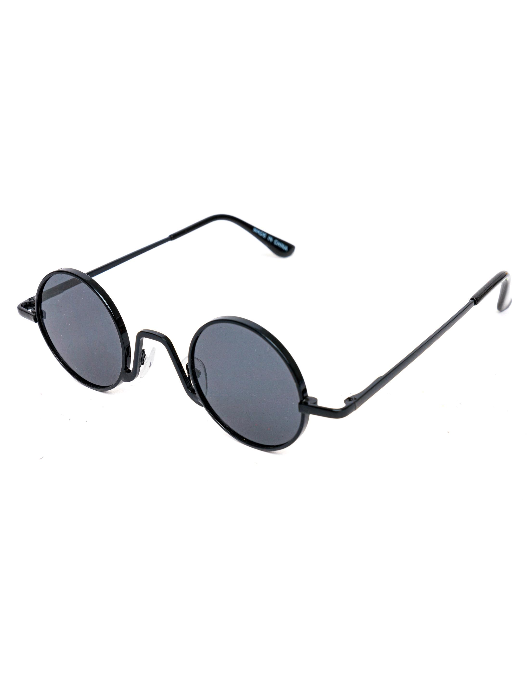 Kostuemzubehor Brille rund schwarz mit Glaeser schwarz