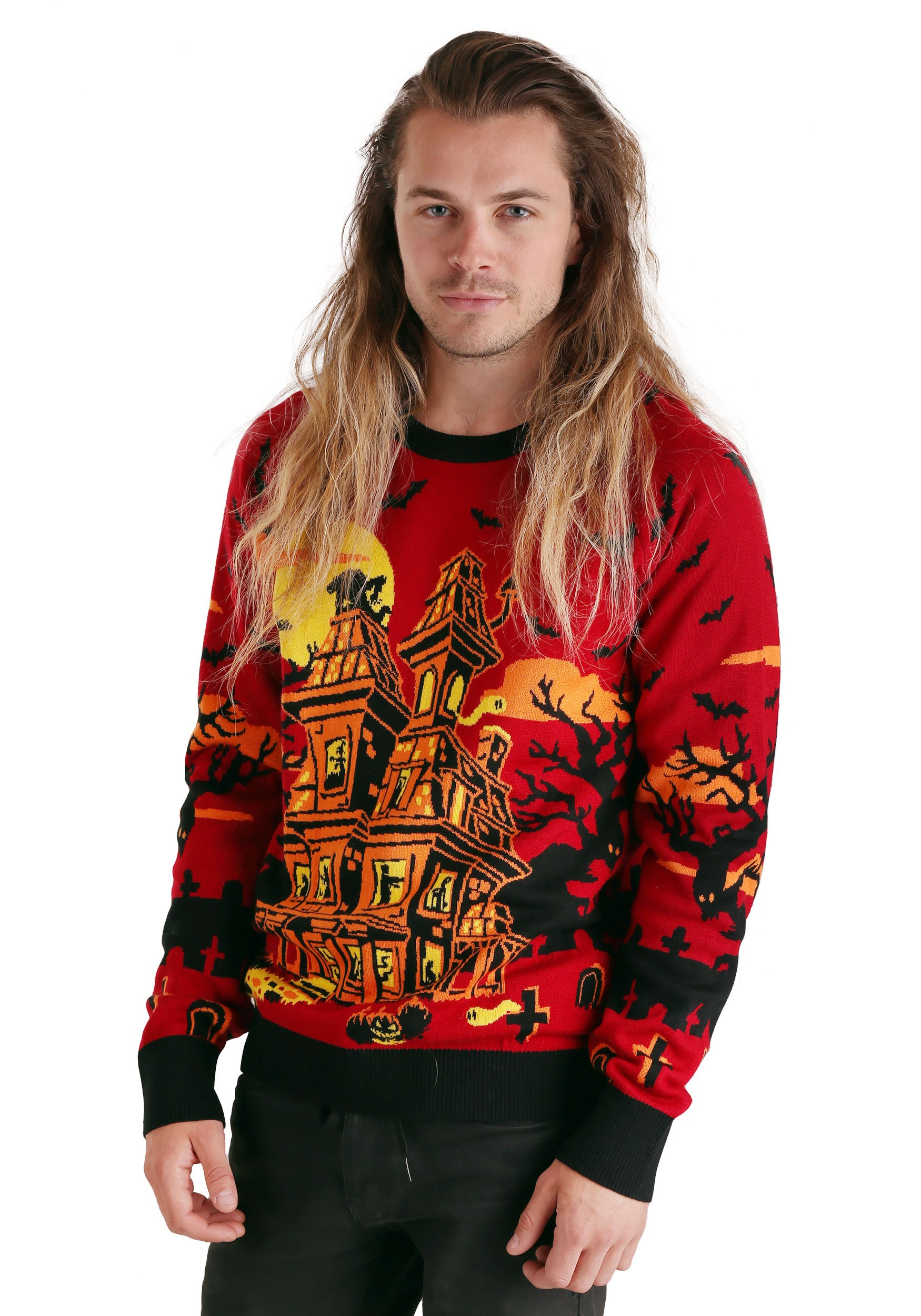 Adult Haunted House Ugly Halloween Sweater