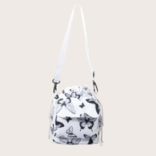 Butterfly Graphic Drawstring Bucket Bag