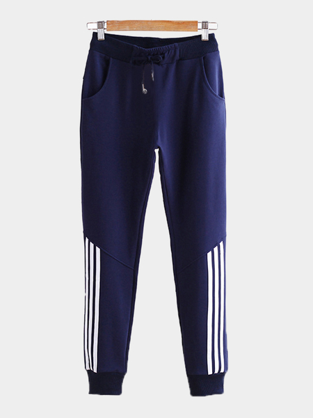 Yoins Navy Casual Stretchable Drawstring Waist Jogger